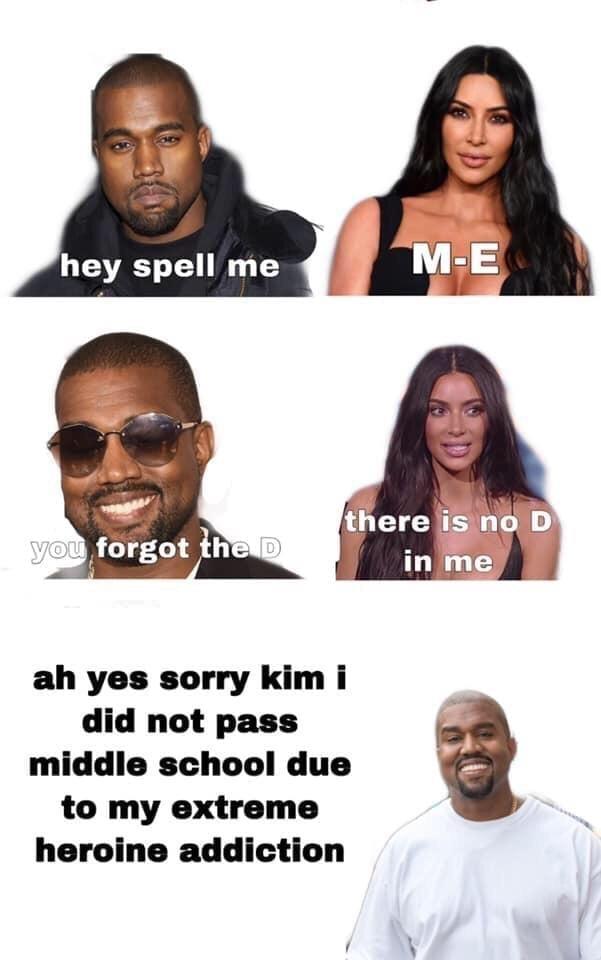 spell me kanye kim meme